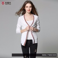 Casual wearing superior fabric crocheted hem spring lady cardigan