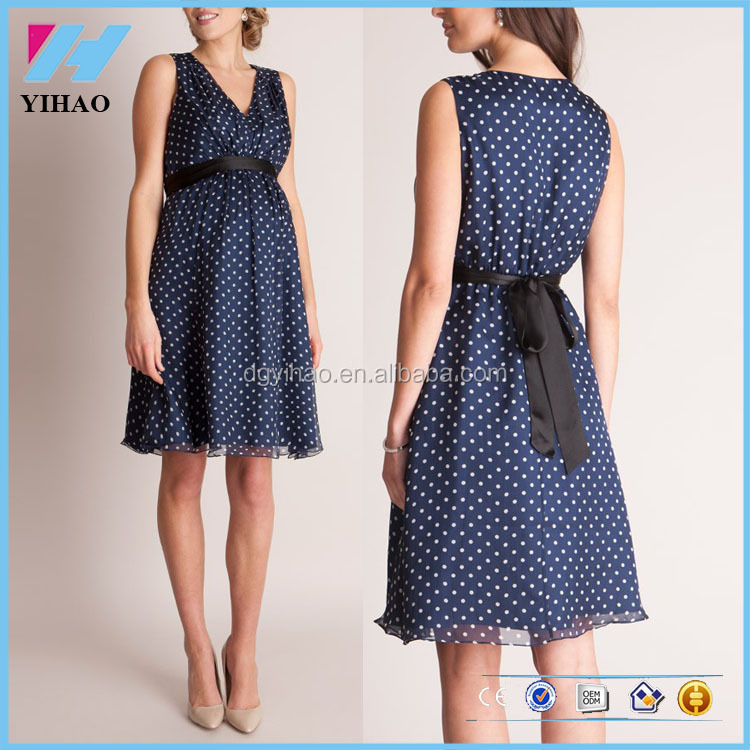 Fashion Clothes Women's V-Neck Ruched Waist Casual Polka Dot Maternity Dress
