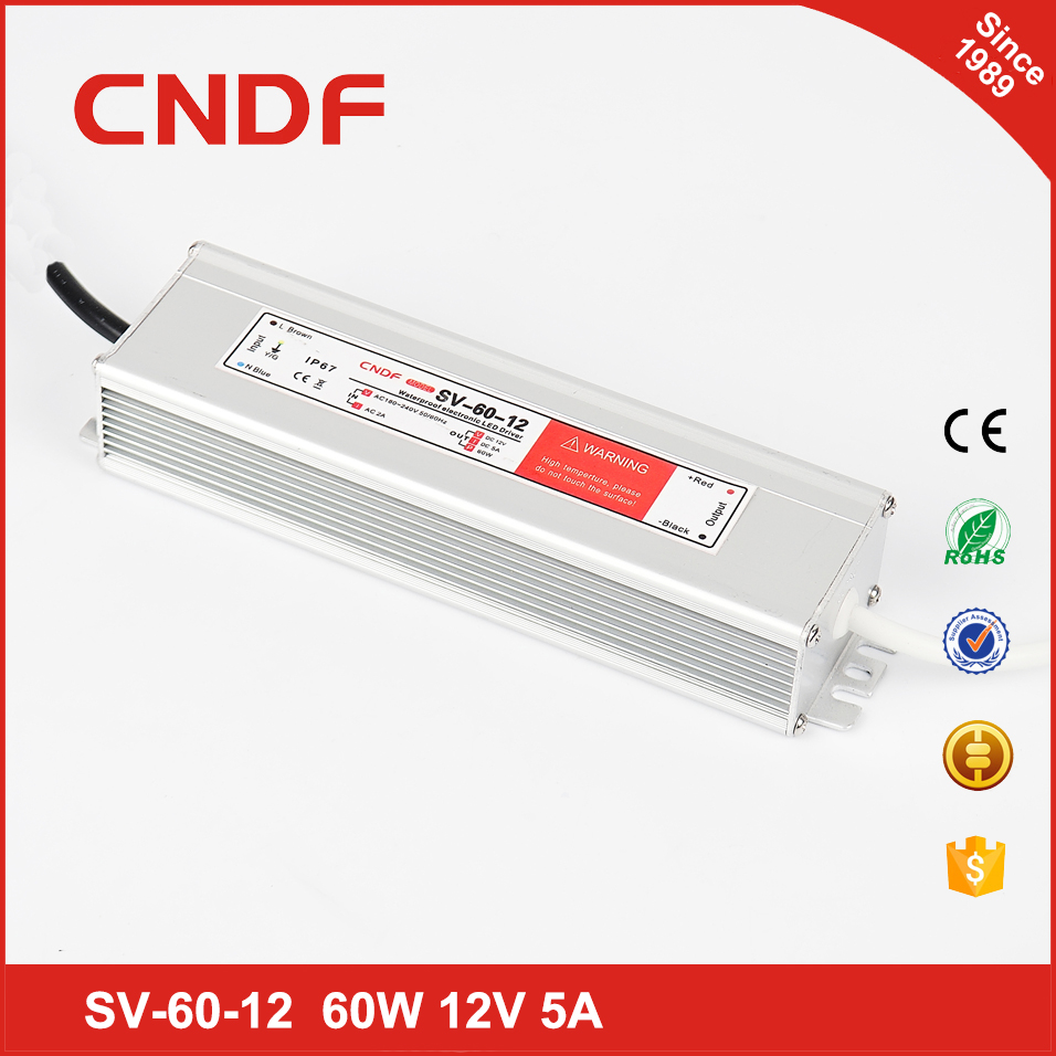 CNDF factory outlet waterproof 12v 60w led transformer with long shelf-life similar meanwell power