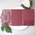 Burgundy Pocketfold Laser Cut Wedding Invitations