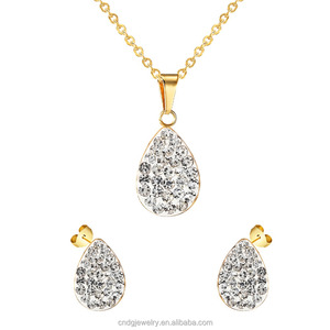 Fashion Jewelry Set Wedding 2017 Statement Necklace and Earring Sets Water Drop Shaped Stainless Steel Jewelry Set Wtih Crystal