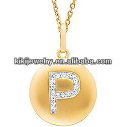 Fashion Elegant 14K Gold Crystal Initial Letter P Disc Pendant Necklace
