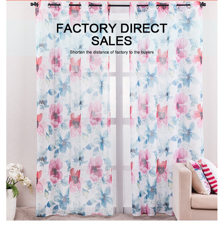 BBJ Printed Floral Curtains European Style Window Curtain