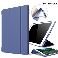 "Soft Silicone Case + PU Leather Smart Cover Auto Sleep For iPad 9.7"" 2017"