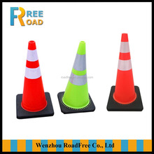 28inch/70cm /3.3kg green safety roadway reflective PVC traffic cone with black base