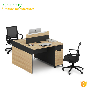 Modern double sided melamine desk two person office desk/wooden workstation with metal base