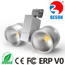 CRI 80 2x40w dimmable 3 phase 4 wires epistar cob + Lifud driver + die-cast aluminum body commercial cob led track light