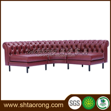 Long Red Leather salon sofa