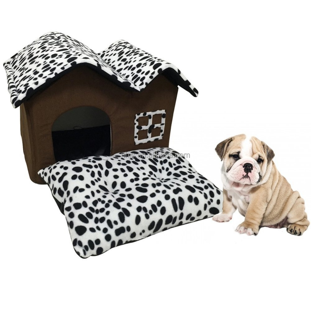 High-end Double Roof Dog House/Black Dog Room Cat Bed with Mat Cushion Pad