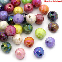Acrylic Spacer Beads Round At Random AB Color Faceted 8mm Dia,300PCs