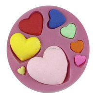2015 different size heart shape silicone cake decorating/heart fondant mold