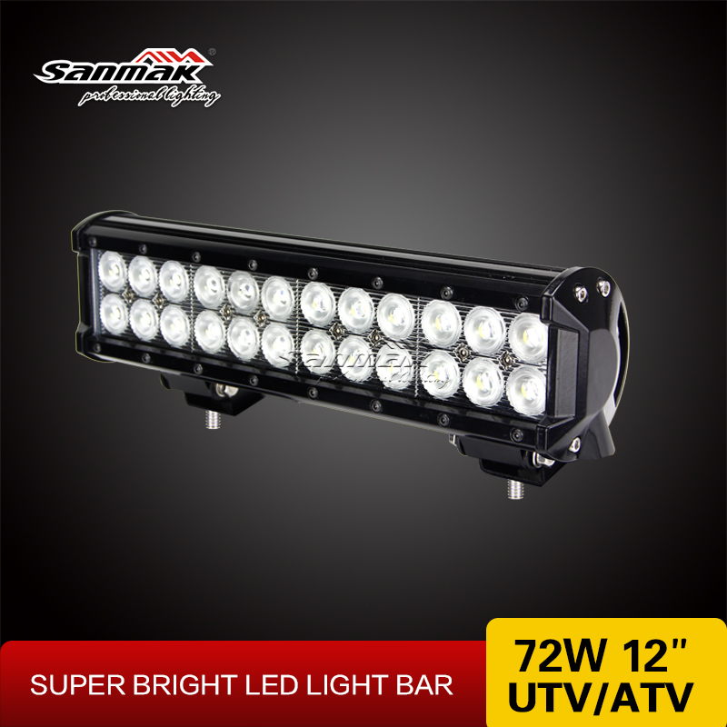 12'' 72w led Light Bar Off-road 12v 24v aluminum housiing 4x4 ATV SUV headlight working light bars manufacturer