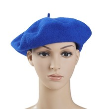 Knitted Wool Felt Navy Blue Beret