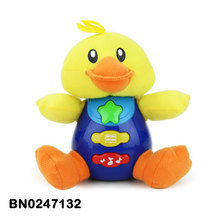 Kid duck toys lovely yellow / white duck plush toy musical lighting for children