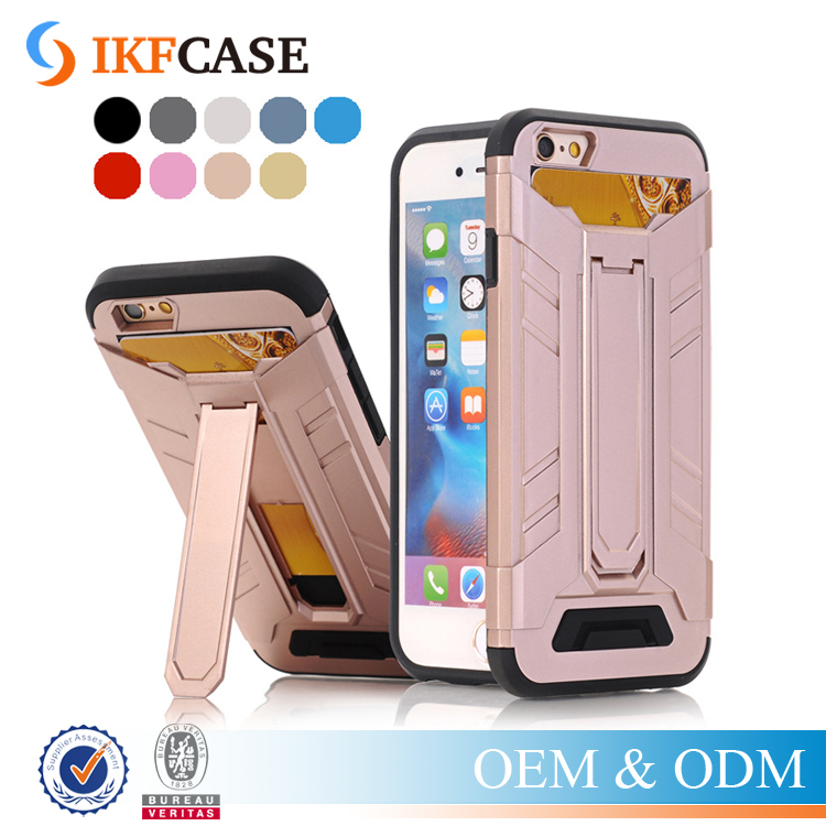 Fashion Armor Case 2 in 1 Hybrid Phone Case Cover With Card Slot and Stand For iPhone 5 5S 6 6S Plus