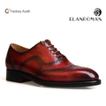 Men's Brogue dress shoes lace up italian leather shoes men goodyear wingtip oxford shoe