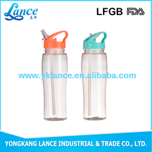 Plastic drinking water bottle with straw plastic waterbottle raw materials for disposable plastic cup