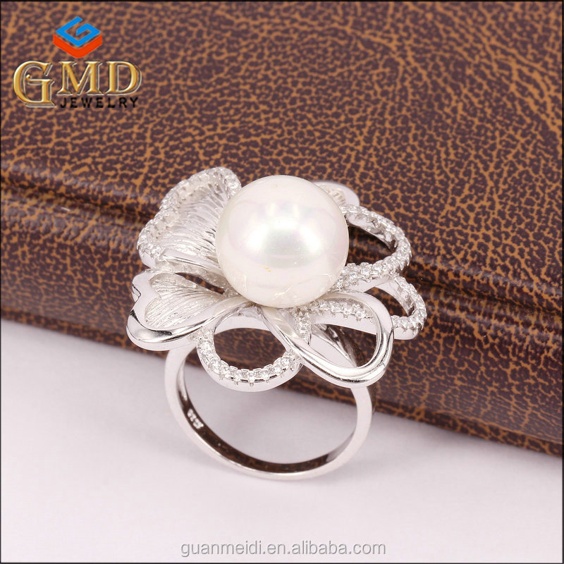China manufacturer customized design flower shaped 925 sterling silver big stone rings