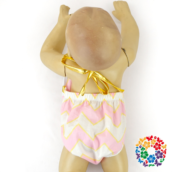 Wholesale Infant & Toddlers Romper Baby Pink Chevron Clothing Kids Cotton Frocks Design Baby Halter Clothes