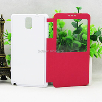 2d high quality sublimation filp leather case with metal plate for samsung Note 4 heat press leather phone case