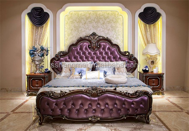 New Classic King Size Bed Set Villa Home Furniture Made Of