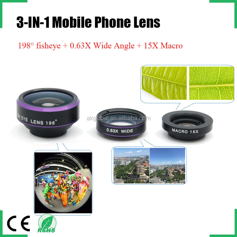 magnetic clip-on conversion lens 198 degree fisheye 0.63x wide angle lens plus macro 3 in 1 lens kit for iPhone 6S HTC one m7 m8
