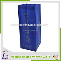 LS-WB022 New Hot fashion named foldable reusable customized wine bottle tote bag with non woven and cotton material