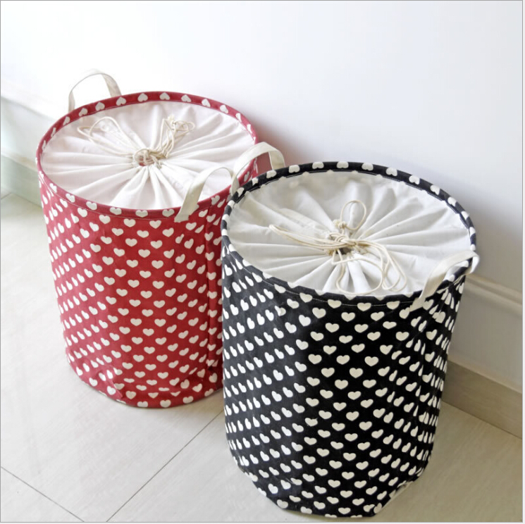 Wholesale Strong Heavy Duty Polyester Fabric laundry baskets black and white