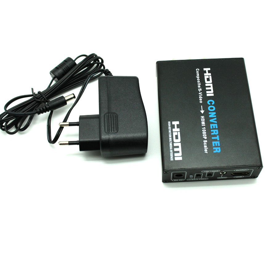 3 RCA CVBS AV <strong>R</strong>/L Audio S-Video to HDMI Converter scale support <strong>1080p</strong>
