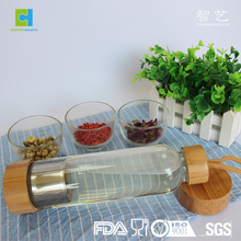 Wholesale High Grade Borosilicate Glass Water Bottle with bamboo lid