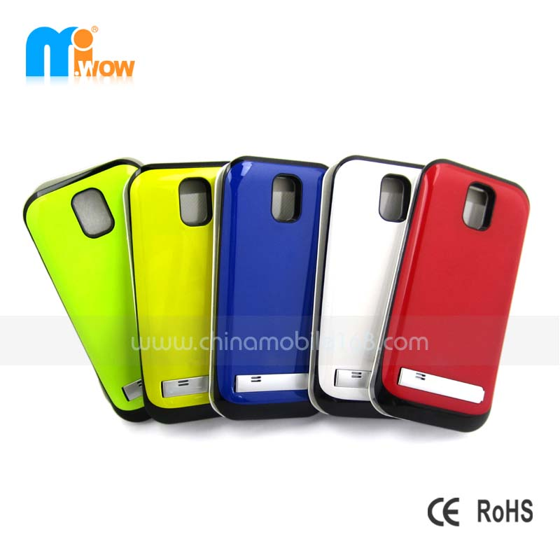 Different Colors for Back and Front,View Flip Cover,Ultra-slim Battery Phone Lether Case for Samsung S4 I9500