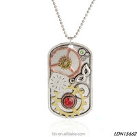 Fashion classic antique silver clock and red ruby alloy gear oblong plate pendant necklace