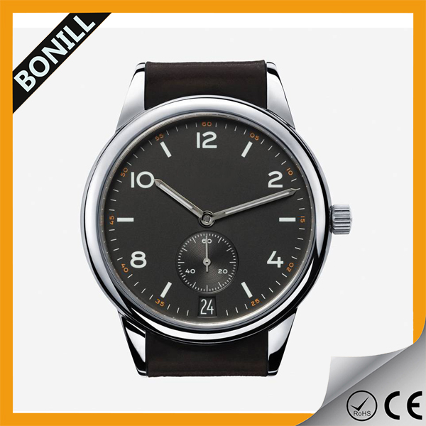 Christmas promotion gift men wristwatch genuine leather watch