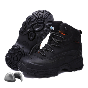 f1f88ba941ba3 Men Steel Toe Shoes High Top Outdoor Hiking Shoes Waterproof Tactical Boots  Cowhide Leather Work Boots safety shoes for men
