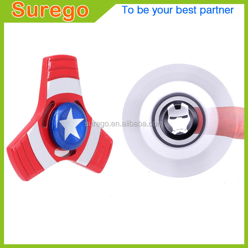Anti-stress Toy Fidget Hand Finger Spinner Metal Alloy Iron Captain America Ironman Spiner Beyblade Rotating Top
