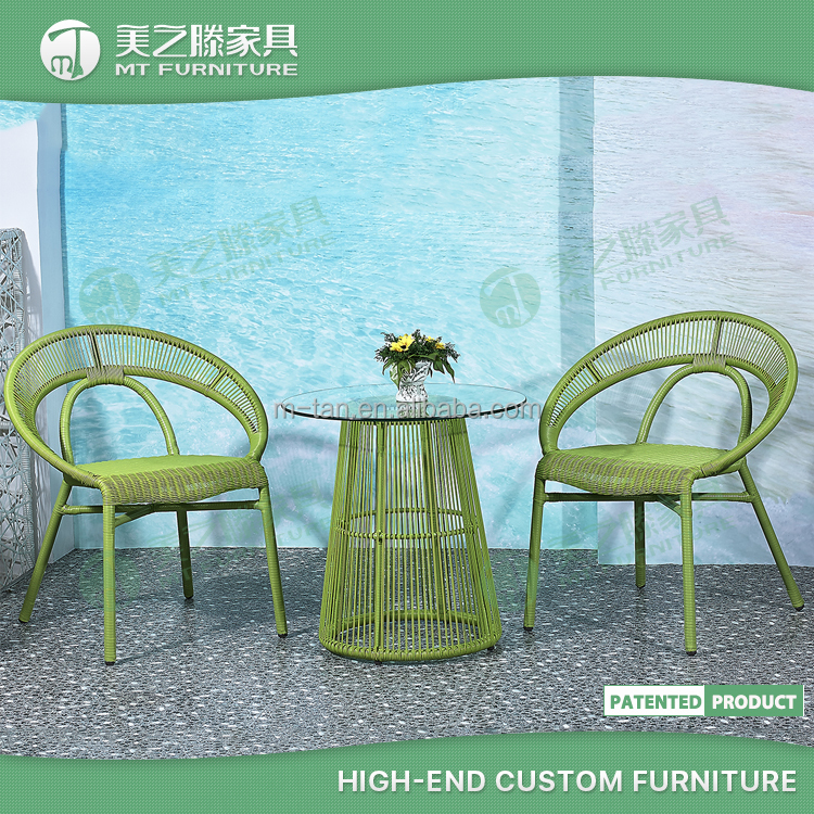 Bali rattan and bamboo cane furniture low-back green bamboo table and chair set with low price