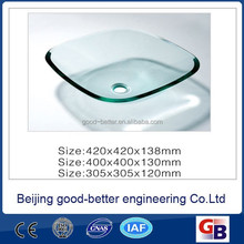 Hot selling single Layer Glass Bathroom Vessel Sink