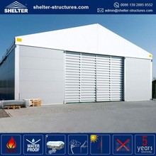 UV protection 850g/sqm PVC fabric coated roof cover tent warehouse with panel, solid roof ceiling and walls