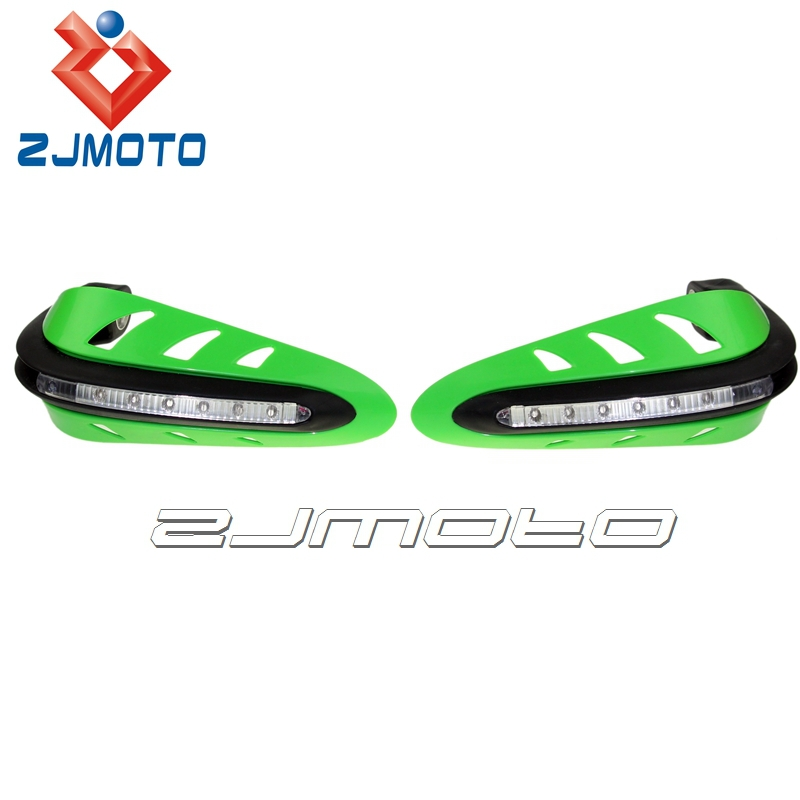 ZJMOTO White LED Indicator Lights Green Hand Guard For Dirt Bikes ATV Universal Fit Most Motorcycle