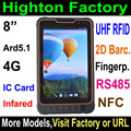 Highton 8inch 4G LTE fingerprint scanner 2D barcode scanner waterproof UHF RFID rugged tablet pc computer with RS485 Serial port