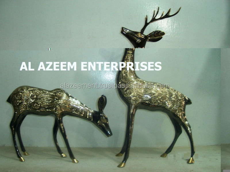 Best Quality Beautiful Deer Pair Drinking Water Brass Made Crafts Pakistan For Home Office Decor & Gift / Brass handicraft