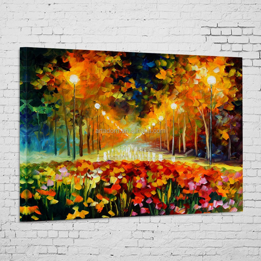 Golden yellow autumn landscape embossed wall painting