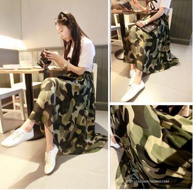 Fashion ladies summer western new chiffon dress camouflage print design women new skirt