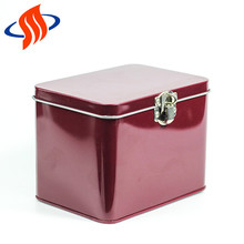 Large red custom printed cookie hinged square coffee tin box for food storage with lid