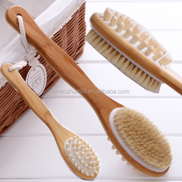 Chinese skin cleaning natural bristle body cleaning brush boar bristle brush wooden boar bristle hair brush