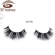 Hand made Luxury Sable Hair Eyelashes Cirss-Cross Natural Looking Sable Fur Strip premium long lasting 3D Sable mink lashes D124