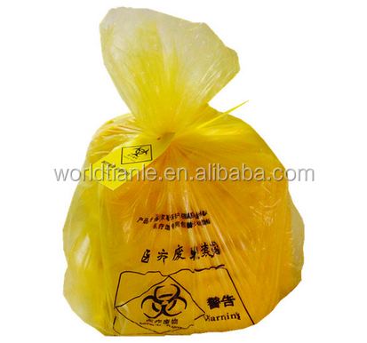 Customized HDPE thick disposable plastic bags for medical disposal yellow biohazard medical waste bag China factory