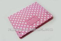 Folio Flip Leather Case Tablet Cute Polka Dot Stand Case for iPad 2 3 4