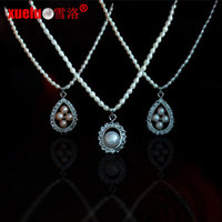 2-3mm rice shape real pearl pendant necklace wholesale