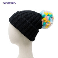 2017 Wholesale Black fashion thick winter knitted bluetooth wool beanie boos with colorful pompom